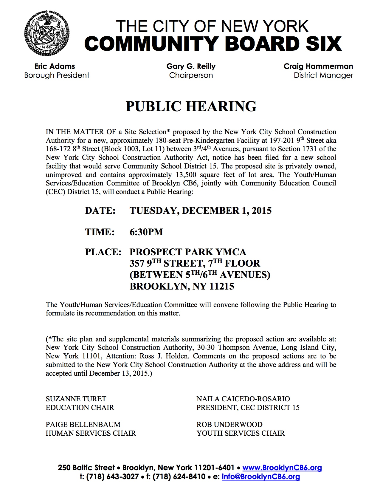 2015-12-01 Public Hearing Notice 201 9th Street